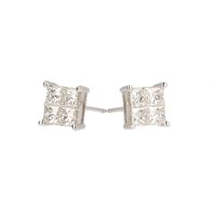 14krt witgouden oorbellen met 8 diamanten princess