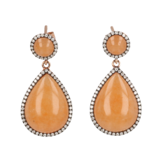 14krt roségouden oorbel Peach Aventurijn met 65 diamanten