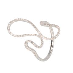 18 krt witgouden fantasie ring met diamant