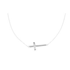 14 krt witgouden collier met kruis
