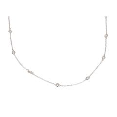 14 krt witgouden diamant collier 60cm