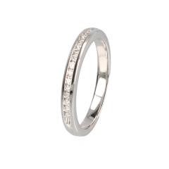 14krt witgouden ring met 15 diamanten in railzetting