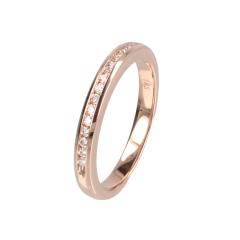 14krt roségouden ring met 15 diamanten in railzetting
