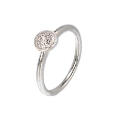 14krt witgouden ring met 19 diamanten pavé zetting