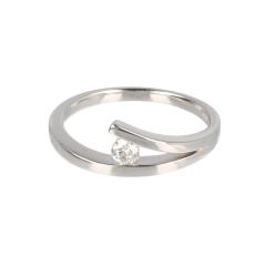 14krt witgouden slagring 1 diamant 0.140crt