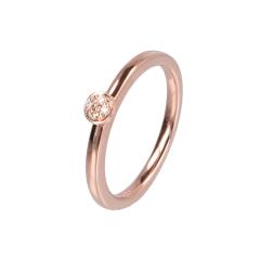 14krt roségouden ring met 4 diamanten pavé zetting