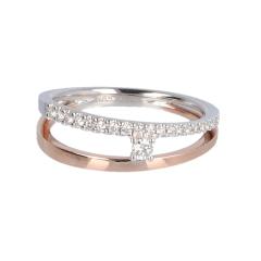 14krt wit- en roségouden ring fantasie met diamant