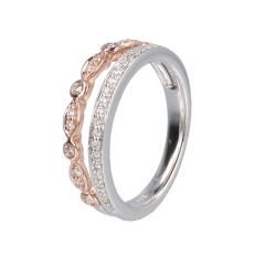 14krt wit- en roségouden banen ring met 37 diamanten