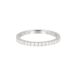 14krt witgouden ring half alliance met 19 diamanten