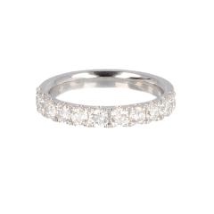 14krt witgouden ring half alliance met 11 diamanten