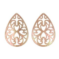 Varivello Pendants mother of pearl Brown ajour | 50 x 35 mm