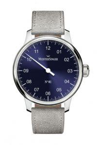Meistersinger N°01 AM3308 Handwind steel case blue dial grey suede strap