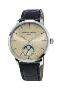 Frederique Constant Slimline Moonphase FC-705BG4S6 Automatic Date steel case champagne dial black leather strap
