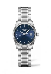 Longines Master Collection Automatic Date L2.257.4.97.6 steel case and bracelet blue dial with diamond index