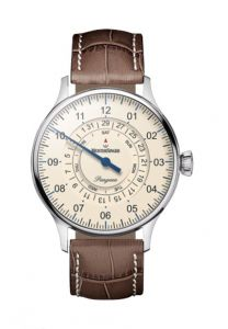 Meistersinger Pangaea Day Date PDD903 Automatic steel case ivory dial dark brown strap