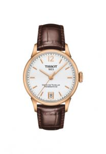 Tissot Chemin Des Tourelles Automatic T099.207.36.037.00 Date steel and pinkgold PVD case silver dial brown leather strap