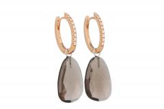 Varivello earrings fine large diamonds Pink gold | Smoky Quartz